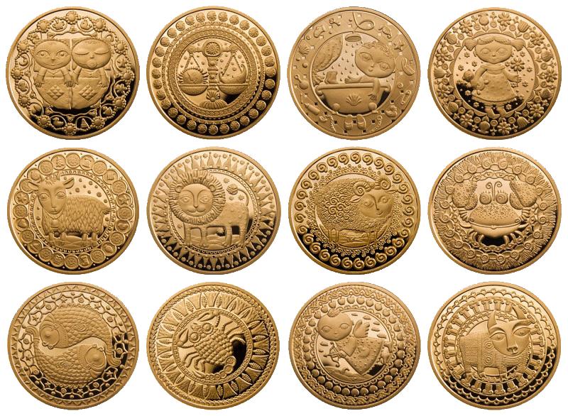 Золотые монеты знаки зодиака мд 44